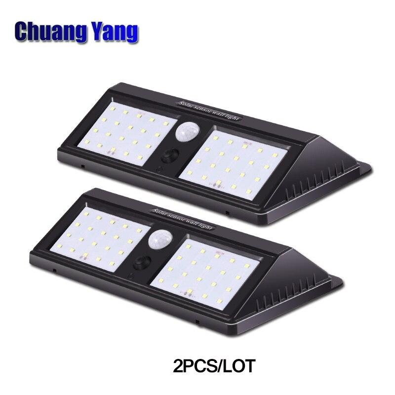 2Pcs Lot 24 LEDs Solar Powered PIR Motion Sensor Wall Light Outdoor Waterproof Energy Saving Street