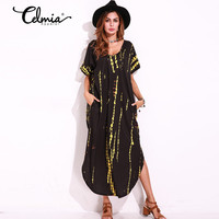 Celmia Long Shift Dresses Plus Size S 5XL Womens Sexy Casual Split Side Short Rolled Sleeve