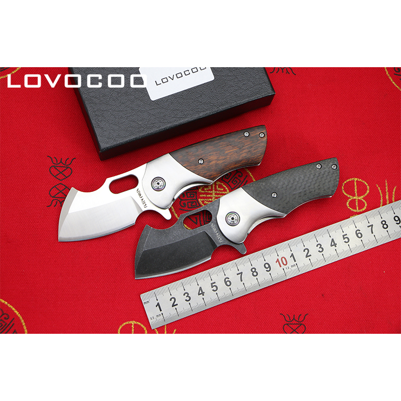 LOCOVOO TANK New arrival Flipper folding knife DC53 blade CF Wood handle Outdoor camping hunting pocket fruit knives EDC tools new rat gfmis magnum revol gb folding knife g10 griff messer 9cr18mov outdoor hunting camping knife rescue edc portable tools