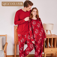 Qianxiu autumn the new model couple pajama sets for men 95% cotton Festive red and christmas color