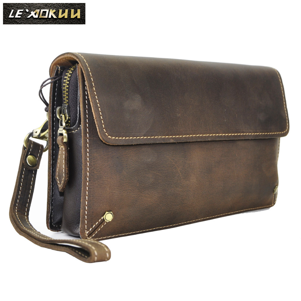 Quality Leather Fashion Male Organizer Wallet Design Chain Zipper Pocket Wallet Purse Clutch bag 7 Tablet