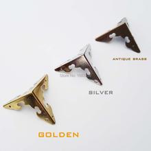 12 Stuks Metalen Decoratieve Sieraden Doos Borst Houten Wijn Cadeau Case Edge Corner Protector Iron Cover Guard Met Nagels 30mm 3 Kleur