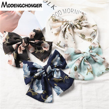 Hot Selling Barrette Bow Floral Hair Clip Big Large Hairpin For Women Girls Chiffon Flower Hairgrips Accessories