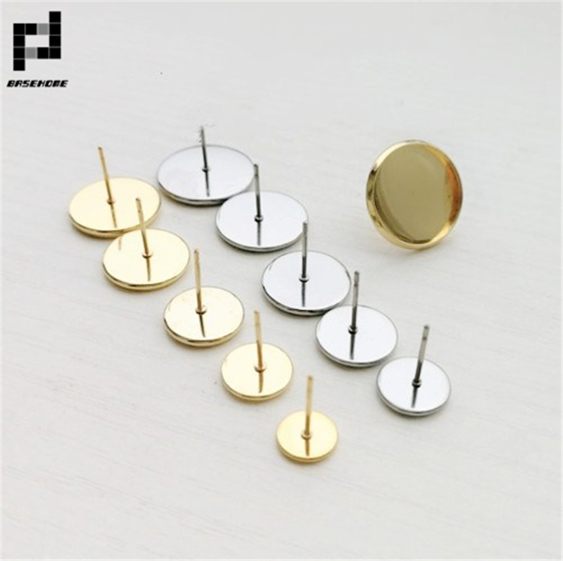 BASEHOME 20pcs/lot Gold Color Stainless Steel Earring Settings Blank Base Fit 6-20mm Cabochoon Cameo DIY Earrings Ear Jewelry basehome 10pcs lot 316l stainless steel 6 20mm inner size earring settings cabochon base fit cabochon cameo diy ear jewelry