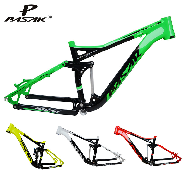 Pasak Full Suspension Aluminium frame Alloy MTB Mountain DH AM Cycling Bicycle Frame 26/27.5er*17inch Downhill Bicycle Part 17 inch mtb bike raw frame 26 aluminium alloy mountain bike frame bike suspension frame bicycle frame