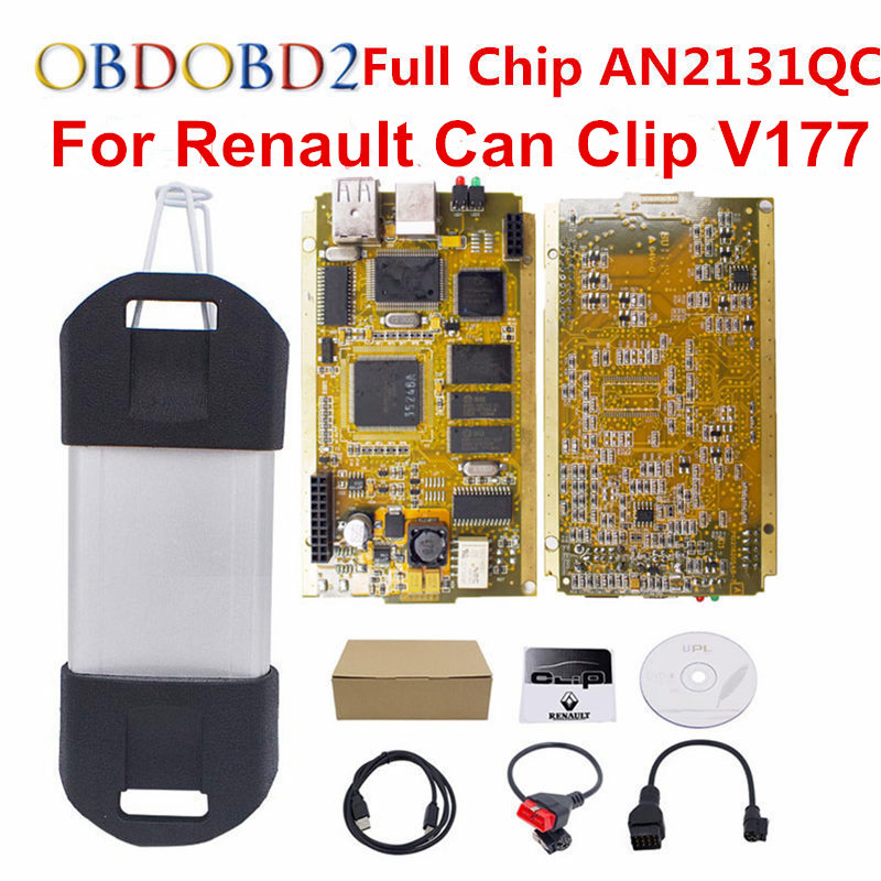 For Renault Can Clip V177 Full Chip CYPRESS AN2131QC+Reprog V151 OBDII Diagnostic Interface CAN Clip For Renault Code Scanner 2018 newest v178 for renault can clip full chip gold cypress an2135sc 2136sc chip nec relay obd2 interface diagnostic scanner