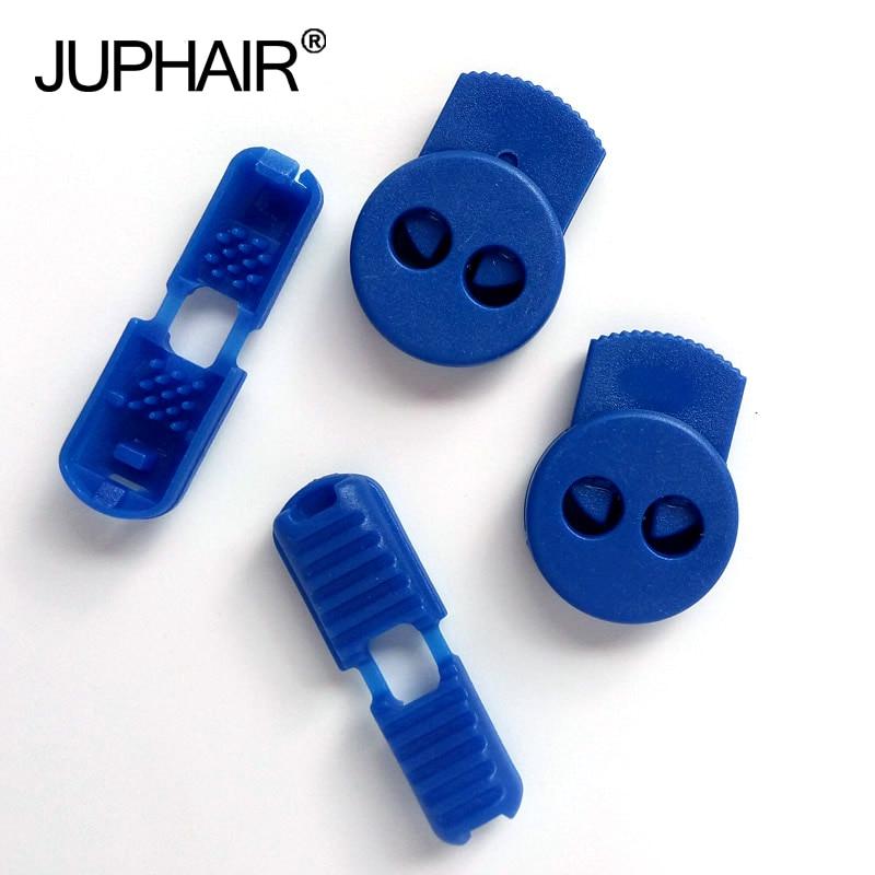 JUP1-50 Sets Blue Flat Buckle Elastic Shoes Buckles Hole Plastic Stopper Bean Toggle Clip Apparel Shoelace Sportswear Accessorie laboratory cork borer sets rubber stopper one set