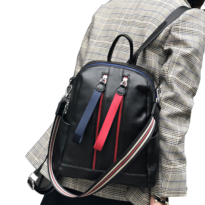 2019 Original Design Backpacks Panelled Chain Rucksack Women Double Zipper Bag Pack High Quality Bagpack Mochila