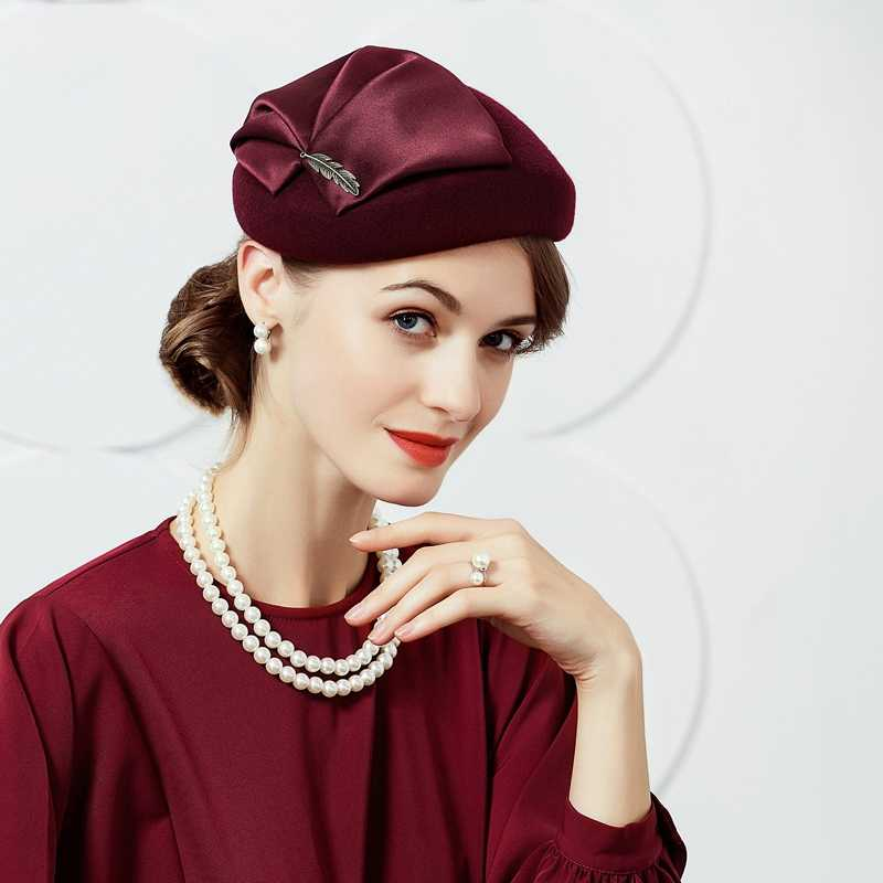 New Women Winter British Fashion Wool Hat Ladies Dress Party Small Cap Female British Style Party Wool Cap