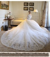 Плюс Размеры v образным вырезом Половина рукава собор/Королевский свадебное платье 2018 роскошный длинный шлейф Аппликации Свадебные платья