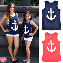 Summer Sleeveless Family T-shirt Matching Mother Daughter Clothes Anchor Pattern Family Matching Outfits Fashion Family Look