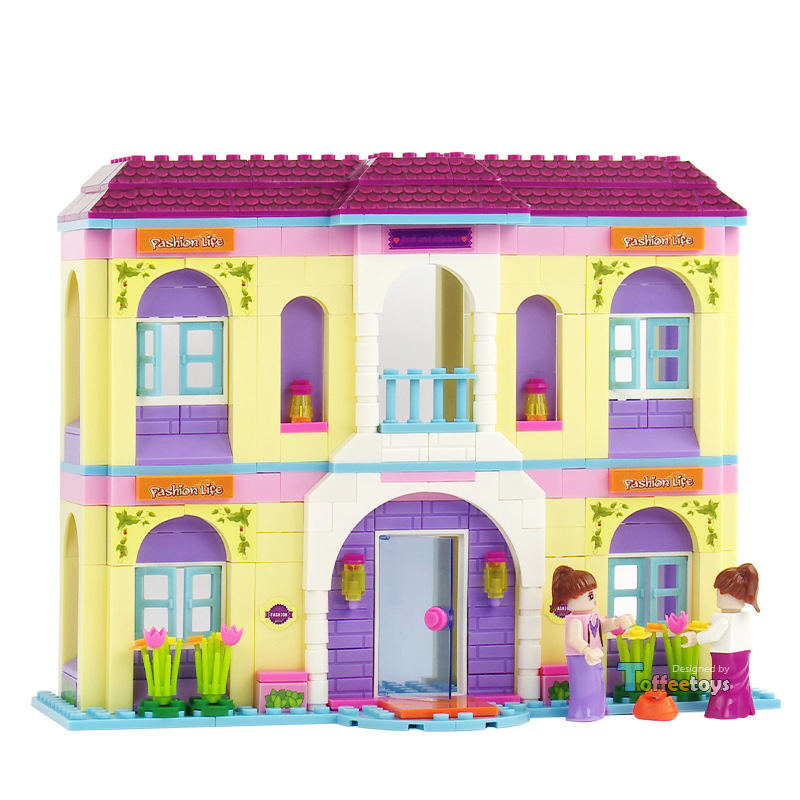 361pcs Girl Villa Castle Assembled Plastic Building Blocks Children Toy Girl Doll Toy House Toys Set Wooden Toys K0377-20127 little white dragon assembling toys educational toys girl fantasy girls beach villa 423