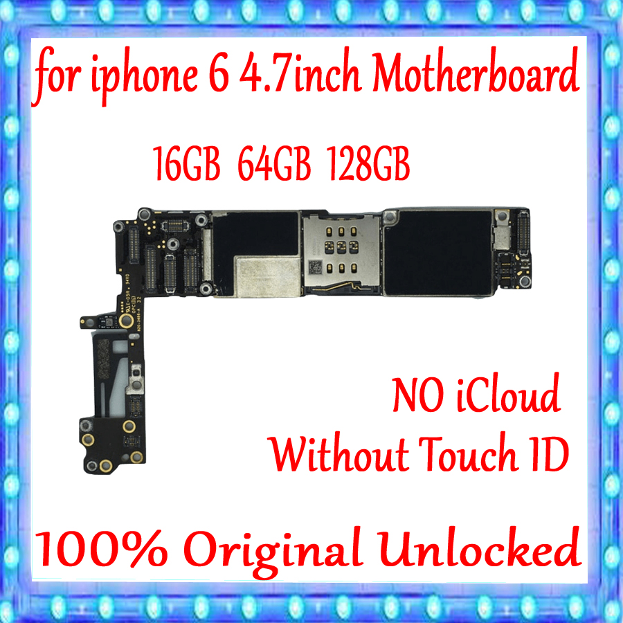 Full unlocked for iPhone 6 Motherboard without Touch ID Original for iphone 6 Mainboard 16gb 64gb