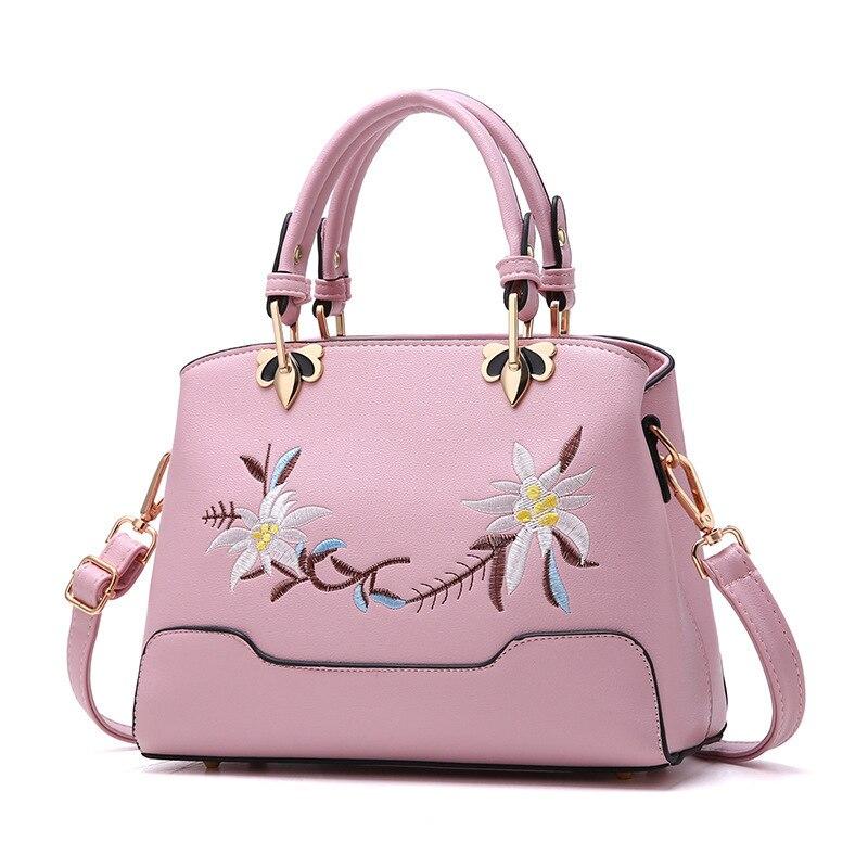 Flower Embroidery Fashion Floral Vintage National Big Space Women Messenger Shoulder Bags PU Leather Handbags Crossbody Tote Bag