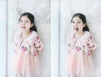 Retail 2016 Kids Girl Princesses Dress Autumn Brand Flower Lace Girl Kids Princess Dress 2016 Toddler