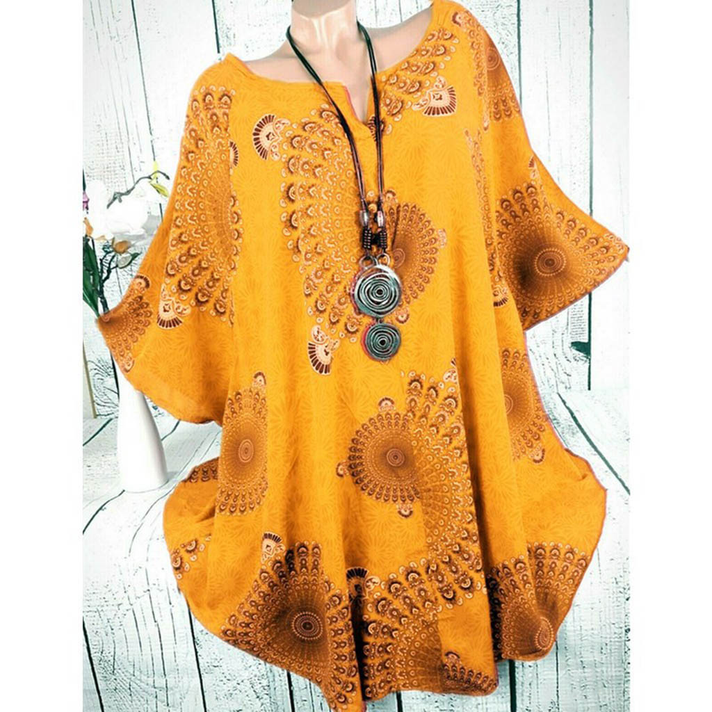 Blouse Women Plus Size Womens Tops And Blouses Shein Haut Femme Ladies V Neck Printed Loose Large Size Bat Sleeve Top Blouse Z4