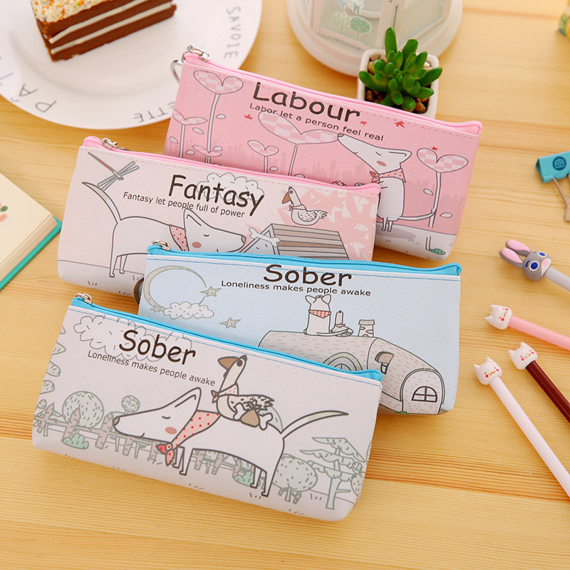 Korean Creative Cute Dog Kawai Pencil Case Cute Kids Funny Lovely Stationery Store Pen Bag Pouch School Holder Pencilcase Supply