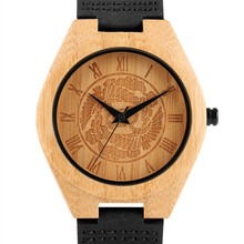 Black/ Brown Genuine Leather Band Strap Wooden Watches Handmade From Bamboo Wood Casual Creative Log Wrist Watch For Men Boys недорого