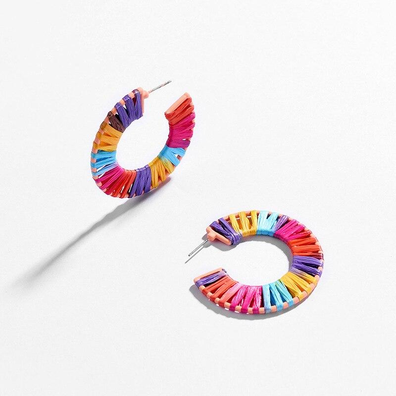 JOOLIM 5 Colors Raffie Knited Hoop Earrings Trendy Earring Wholesale in Hoop Earrings from Jewelry Accessories