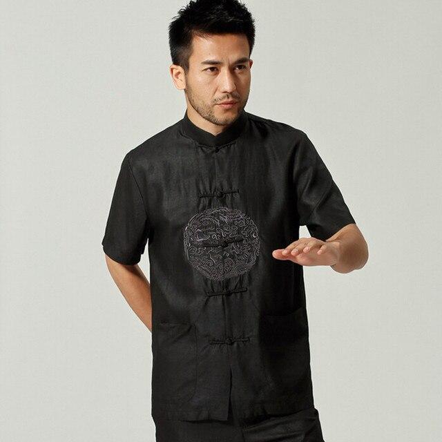 Nuevo Estilo Chino de Los Hombres Del Ocio Del Verano EmbroideryShirt Kung Seda de la Alta Calidad fu tai chi camisetas más el tamaño m l xl xxl xxxl M061304