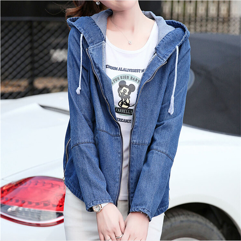 Jacket   Coat Newest Hooded Denim Women 2018 Spring Autumn   Jacket   Women Long Sleeve Kawaii Jeans   Basic     Jacket   JK342
