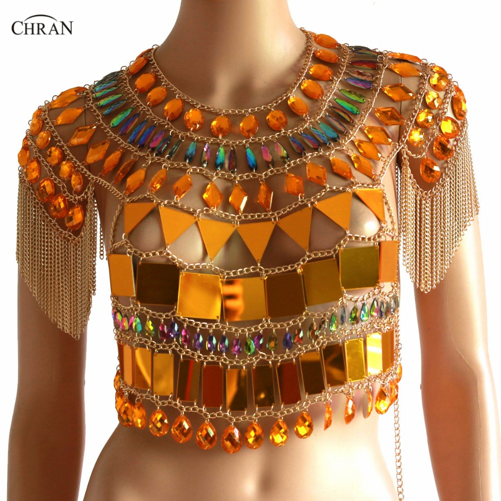 Chran Women Sexy Sparkly Crop Top Summer 2018 Exotic Tassel Necklace Beach Vest Bra Bralette Gem Mirror Festival Wear Jewelry цена 2017