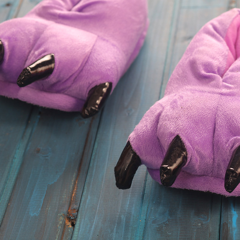 Funny Animal Unisex Paw Slippers Winter Warm Christmas Monster Dinosaur Plush Home Slippers Indoor Soft Claw Slipper Lovely 2019 in Slippers from Shoes