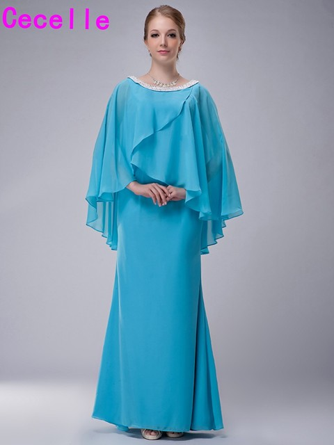 Blue Mermaid Chiffon Mother Of The Bride Dresses 2017 With Cape Real