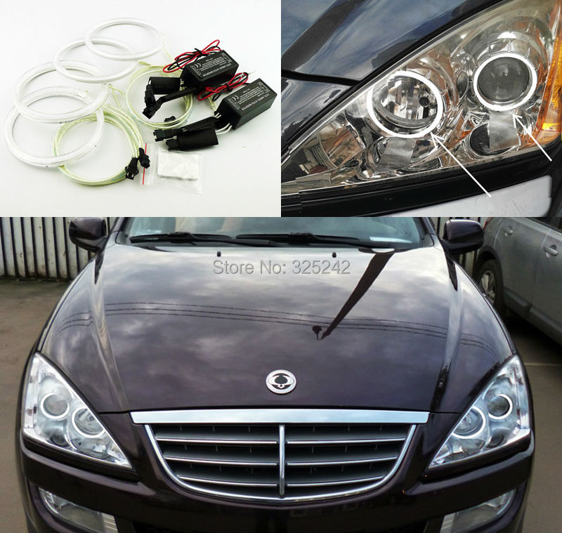 For Ssangyong Kyron 2005 2014 Excellent angel eyes Ultrabright headlight illumination CCFL Angel Eyes kit Halo