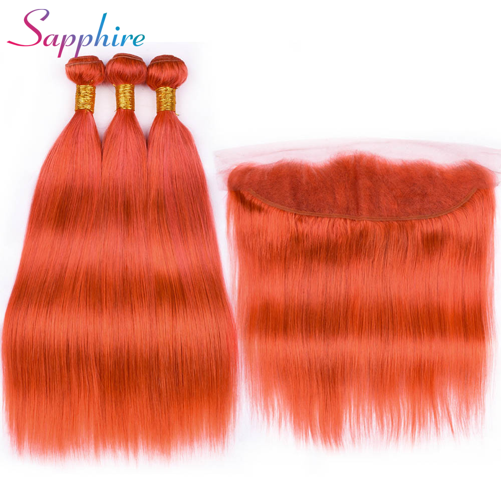 Sapphire Orange Straight Brazilian Hair Weave Human Hair Bundles with Closure 3PC Remy Hair and 1PC Lace Frontal Closure