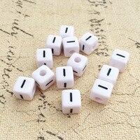 Black Letter I Printing White Plastic Acrylic Alphabet Beads 550PCS Lot 10 10MM Cube Shape Name