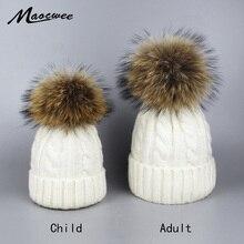 Шапки с помпонами для девочек, шапка с помпоном из натурального меха лисы и енота, шерстяная шапка с помпоном на осень и зиму, теплые шапки Skullies, шапки для женщин, детей, детская шапочка
