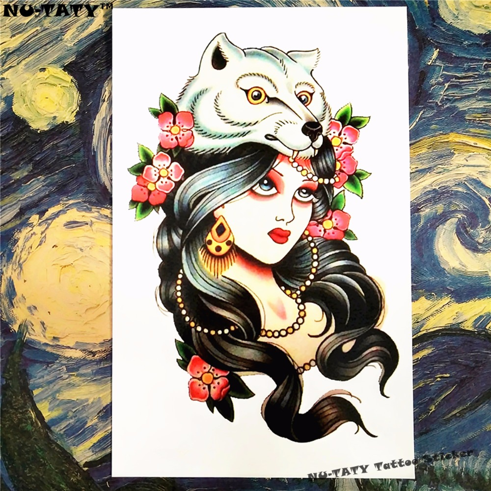 Nu-TATY White Fox Fairy Temporary Tattoo Body Art Sleeve Arm Flash Tattoo Stickers 12*20cm painless Henna selfie Tatoo tattoo