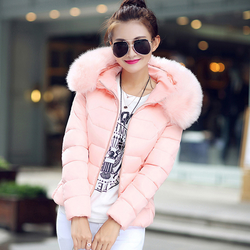 Winter Short Women Jacket Coat Cotton Warm Fur Hooded Parkas Women Outwear Zip Casual Fashion Black Warm Female Coats WT4583 14
