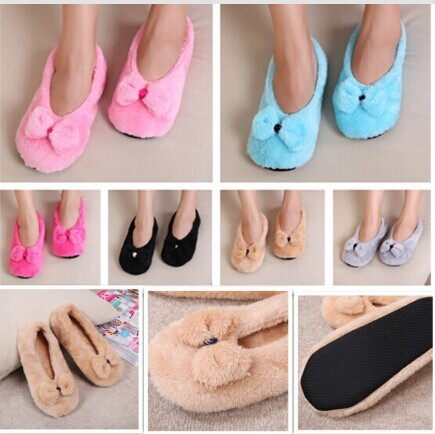 ToLaiToe Hot Selling Lovely Candy Big BowKnot Warm Soft Sole Women Indoor Floor Shoes Bow Tie Flannel Home Slippers