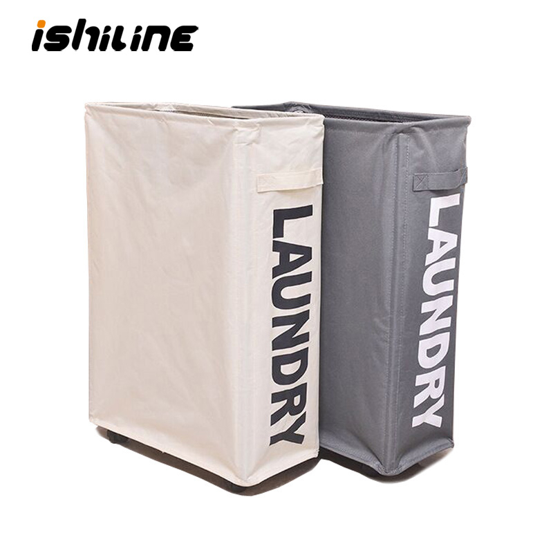 Foldable Dirty Clothes Basket With Caster Wheels Collapsible Laundry Basket Organizer Home Storage Basket Hamper
