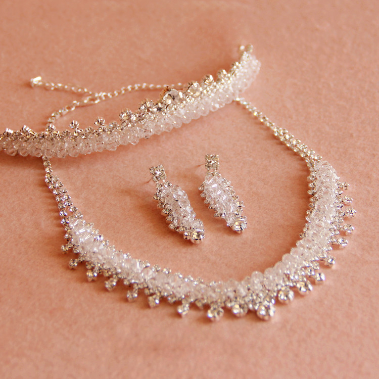 3 PCS Silver bridal jewelry sets crystals
