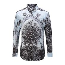 New Fashion Autumn High Quality Men's Floral Print Shirts Men Cotton Slim Causal Long Sleeve Shirt Dress Clothing