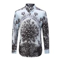 New Fashion Autumn High Quality Men S Floral Print Shirts Men Cotton Slim Causal Long Sleeve