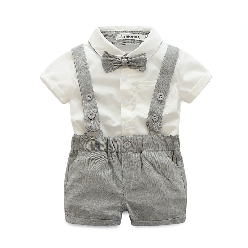 Summer Baby Boy Clothes Sets Fashion infant Gentlemanlike Short Sleeve shirt+Straps Short Pants Newborn Clothes