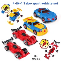DIY Assembly Car 4 In 1 Take Apart Racing Car with Lights and Sound Building Car Model Building Kit Kids Drill Screws Toys Gift