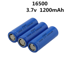 2pcs/lot Very cheap Vbatty 16500 1200mah 3.7V Li-ion rechargeable battery with flat top