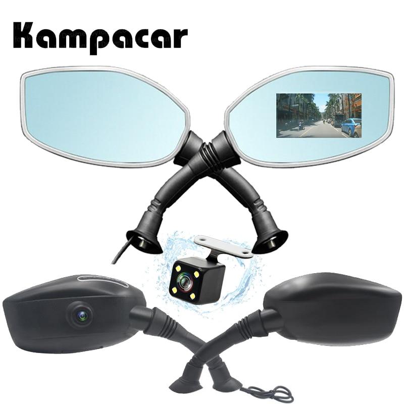 Kampacar Câmera Dvr Carro Para A Motocicleta Espelho Retrovisor Da Motocicleta Câmera Auto Câmera do Dvr Gravador de Vídeo Câmera De Vídeo Motocicleta