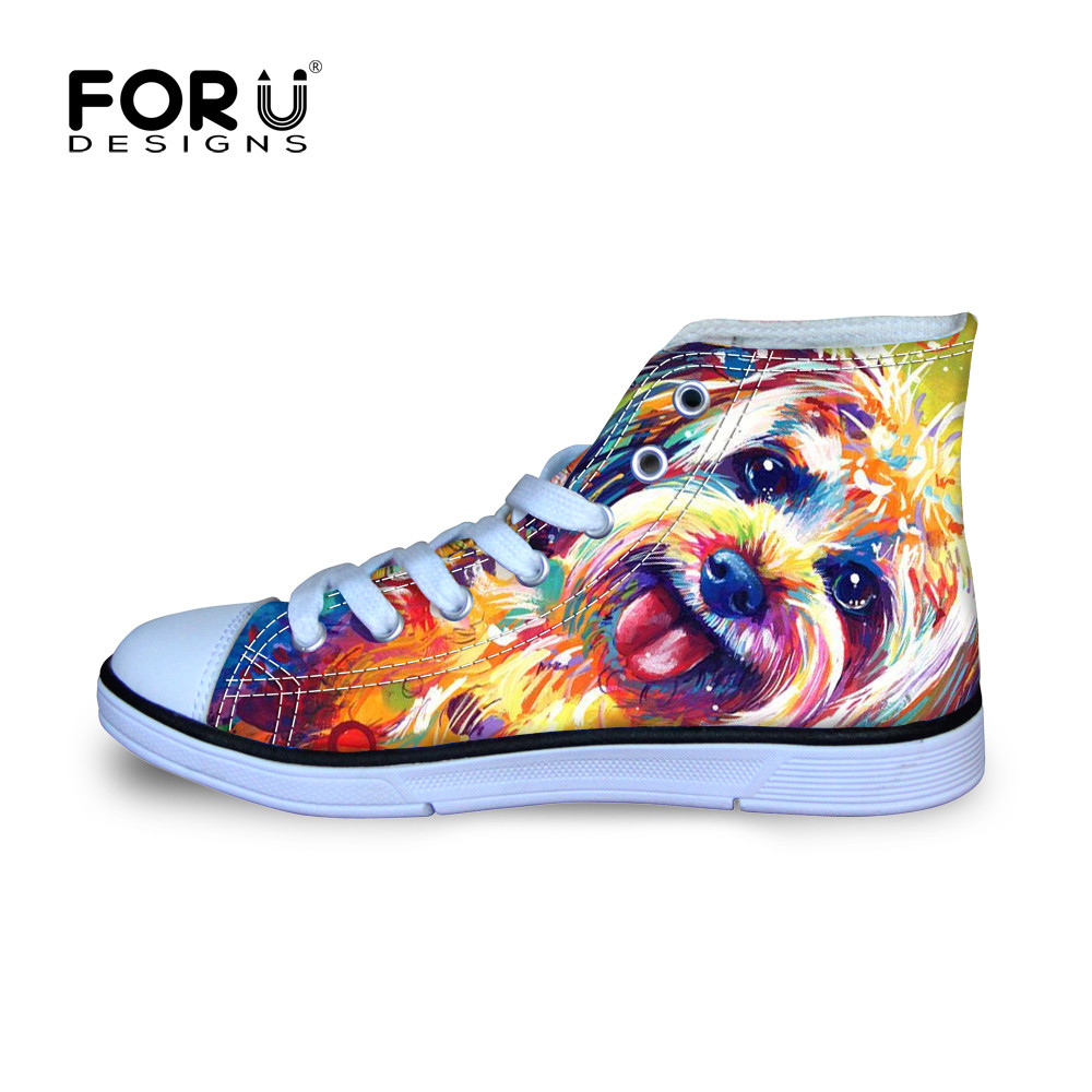 Valpar Design Barn Kawaii Walking Skor För Flickor Katter Peacoke Dogs Style High Top Canvas Shoe Oudoor Lightweight Sneakers