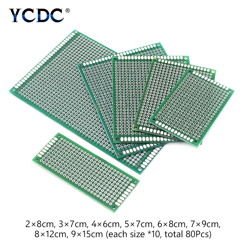 цена на 8 Sizes Mix PCB Prototype Circuit Board Double-sided Strip Breadboard 80Pcs various electronic and soldering projects