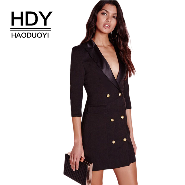 HAODUOYI HDY Black Blazer Dress Women Button Notched Bodycon Mini Dress  Sexy High Waist Suit Style