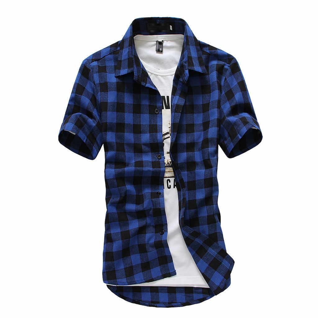 Мужская рубашка на пуговицах короткий рукав в клетку картина большой Размеры Повседневное блуза топ рубашки camisa с коротким рукавом 2019 F1