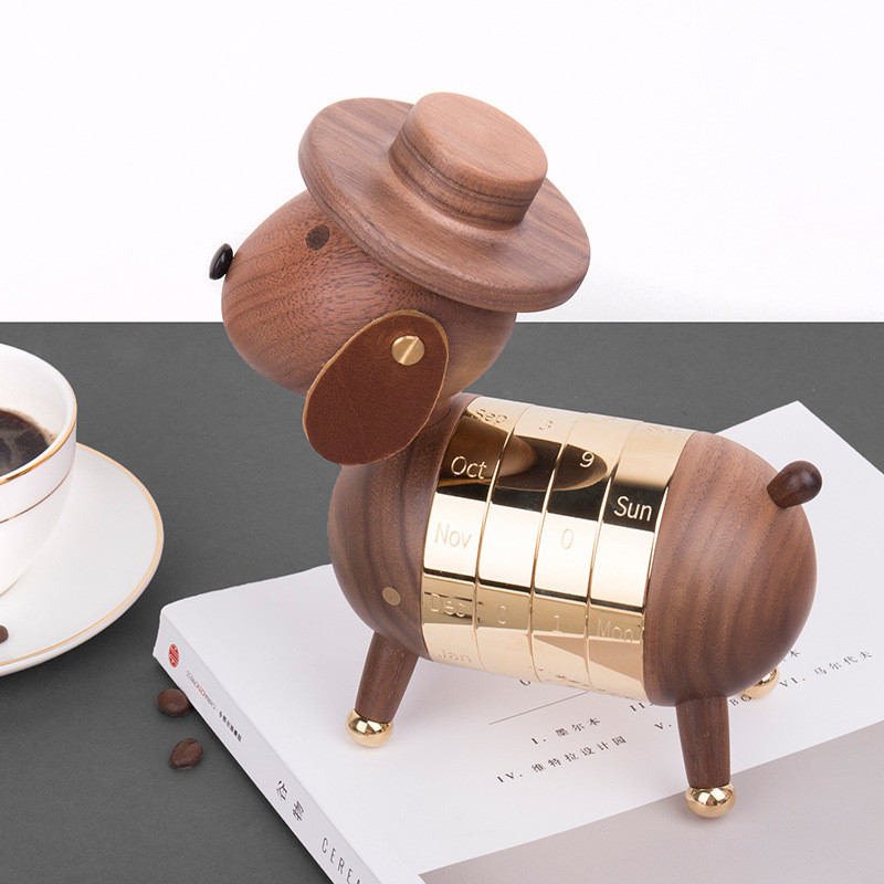 Wooden Puppy Calendar European Furnishings Creative Gifts Wooden Dog Toys Nordic Crafts Wood Home Decoration Price Remains Stable