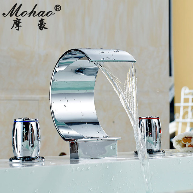 Fashion copper hot and cold taps split bathroom waterfall 3 holes washbasin