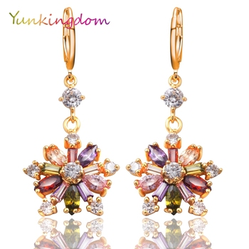 Yunkingdom Rainbow Flower Drop Earrings for Women Cubic Zirconia Crystals Drop Earrings Female K0053.jpg 350x350 - Yunkingdom Rainbow Flower Drop Earrings for Women Cubic Zirconia Crystals Drop Earrings Female K0053